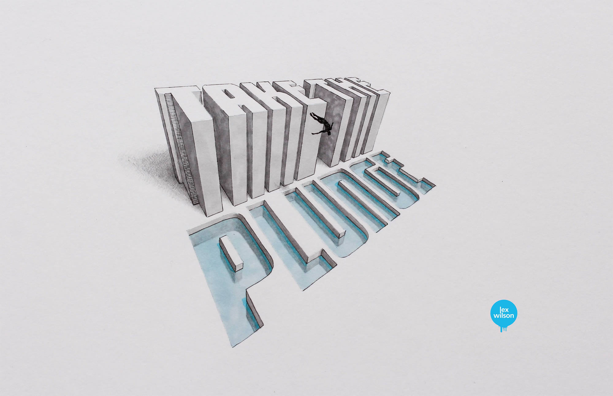 take the plunge, 3d typography
