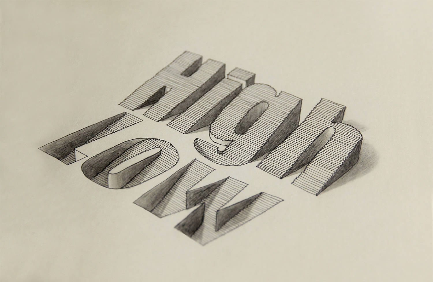 high and low 3d letters