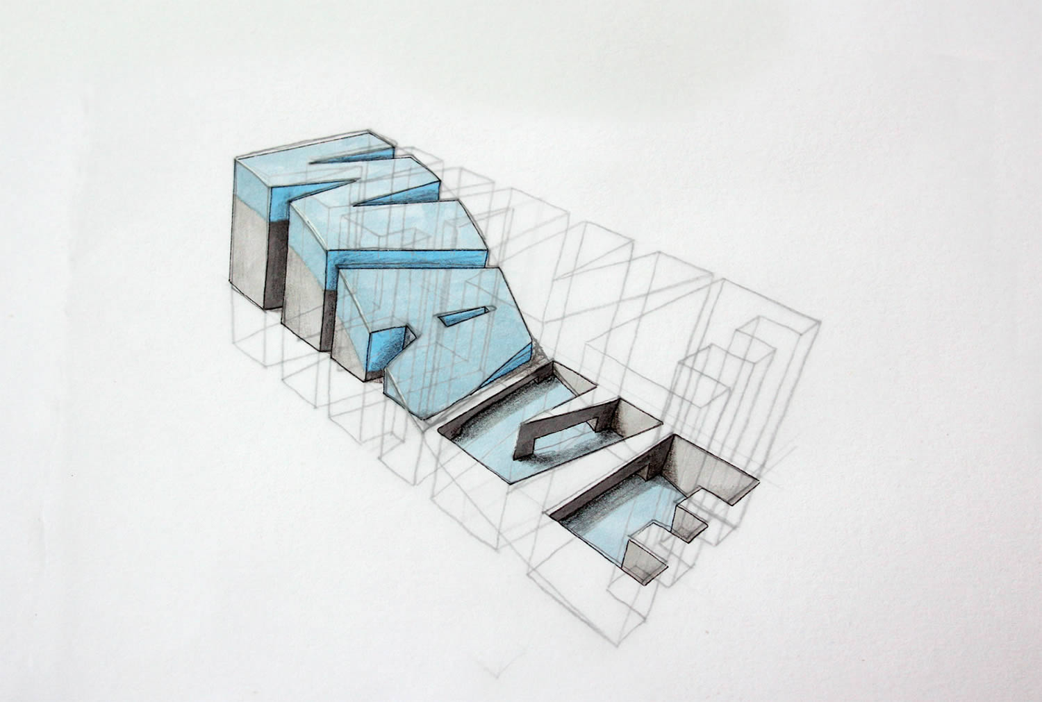 wave letters, 3d typography