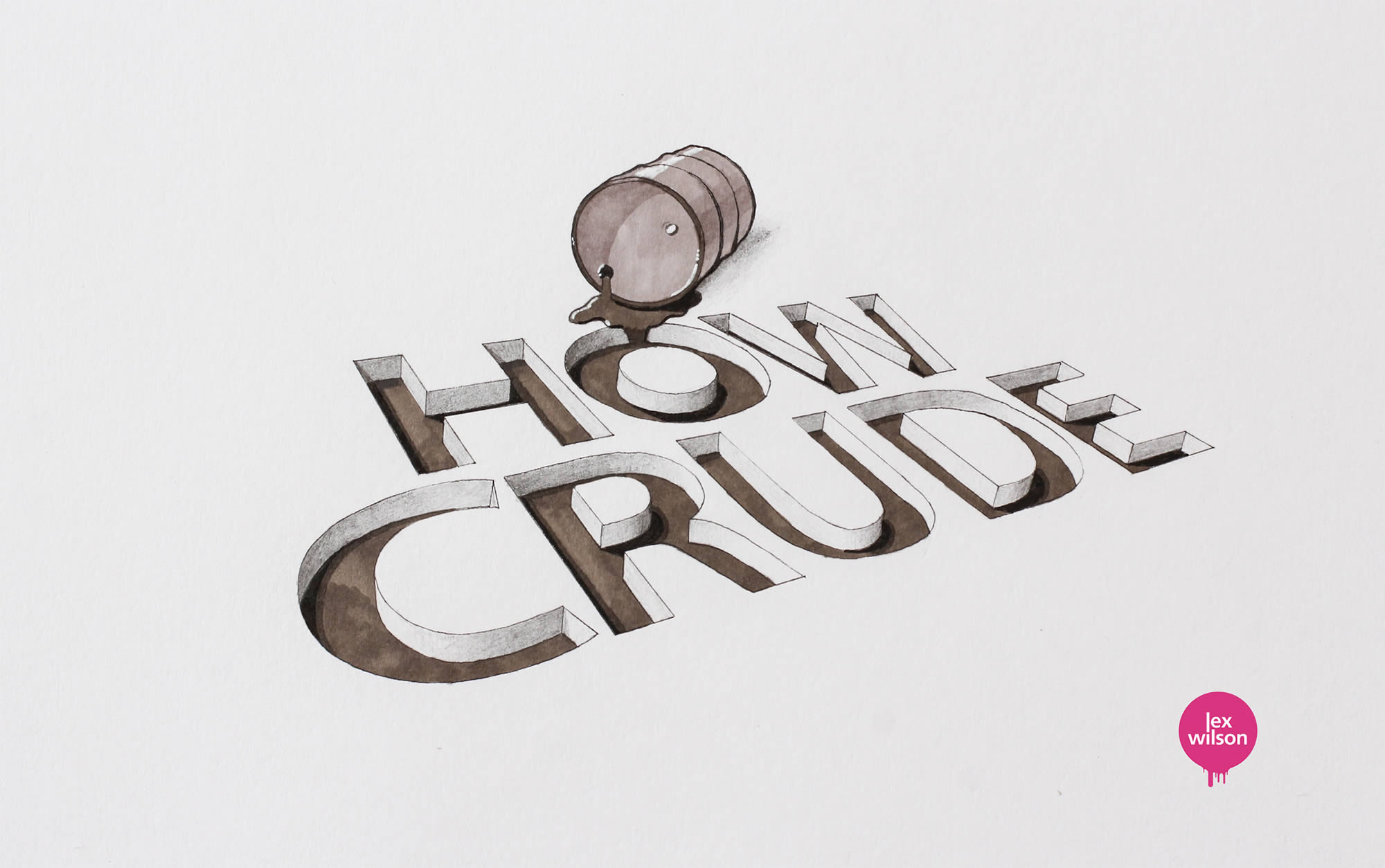 how crude, 3d typography