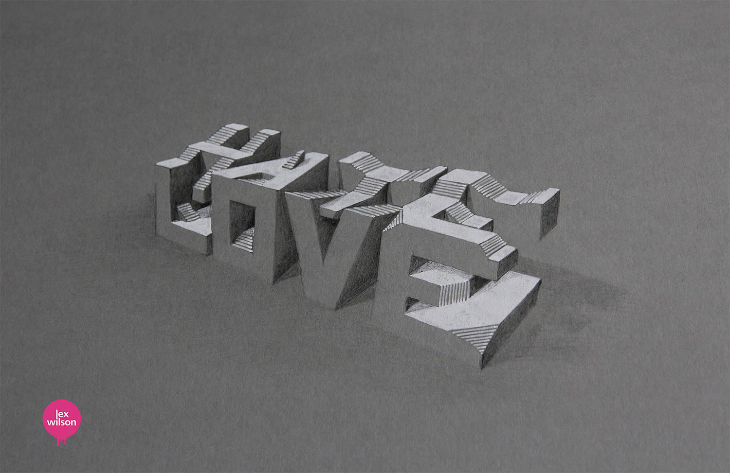 hate and love, 3d typography