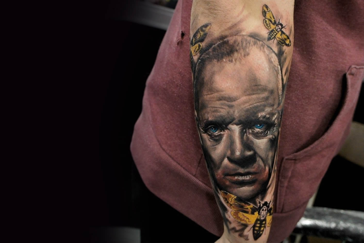 "The wicked Hannibal Lecter in ""The Silence of the Lambs."" Tattoo by Brian Merck."