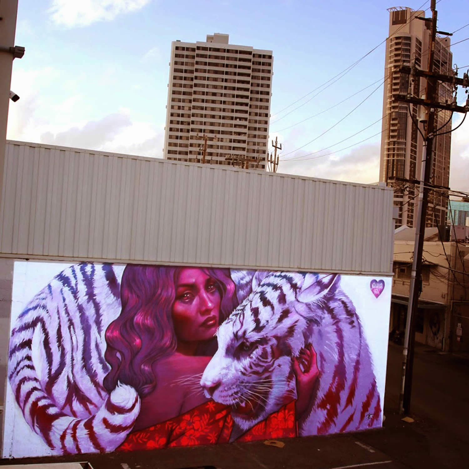 tiger and woman graffiti by natalia rak