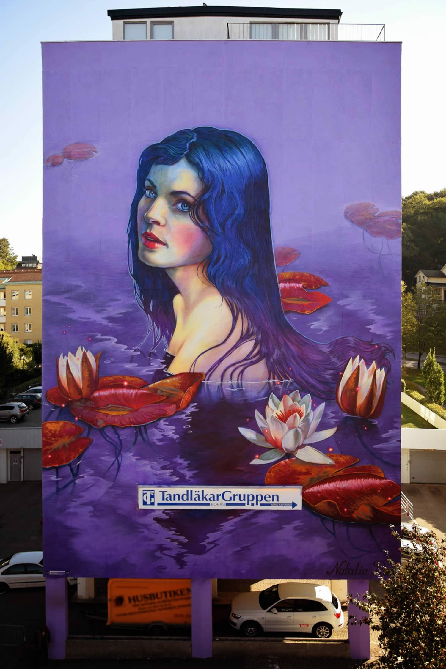 blue hair girl mural, graffiti by natalia rak