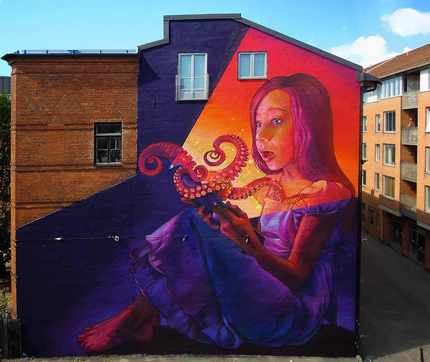 girl and octopus,graffiti by natalia rak