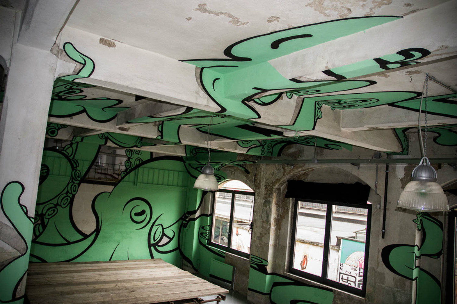 truly design anamorphic graffiti octopus green concrete space