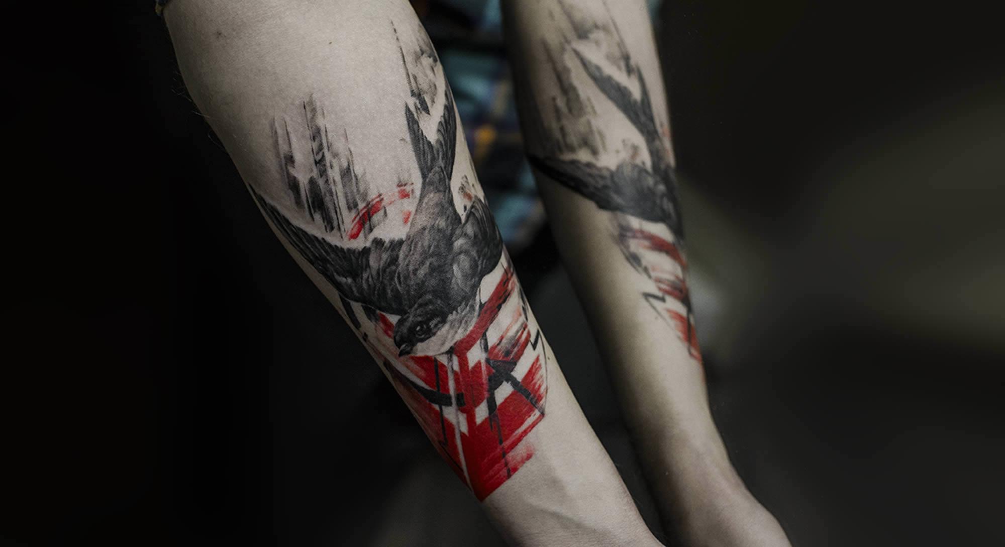 swallow in black, tattoo