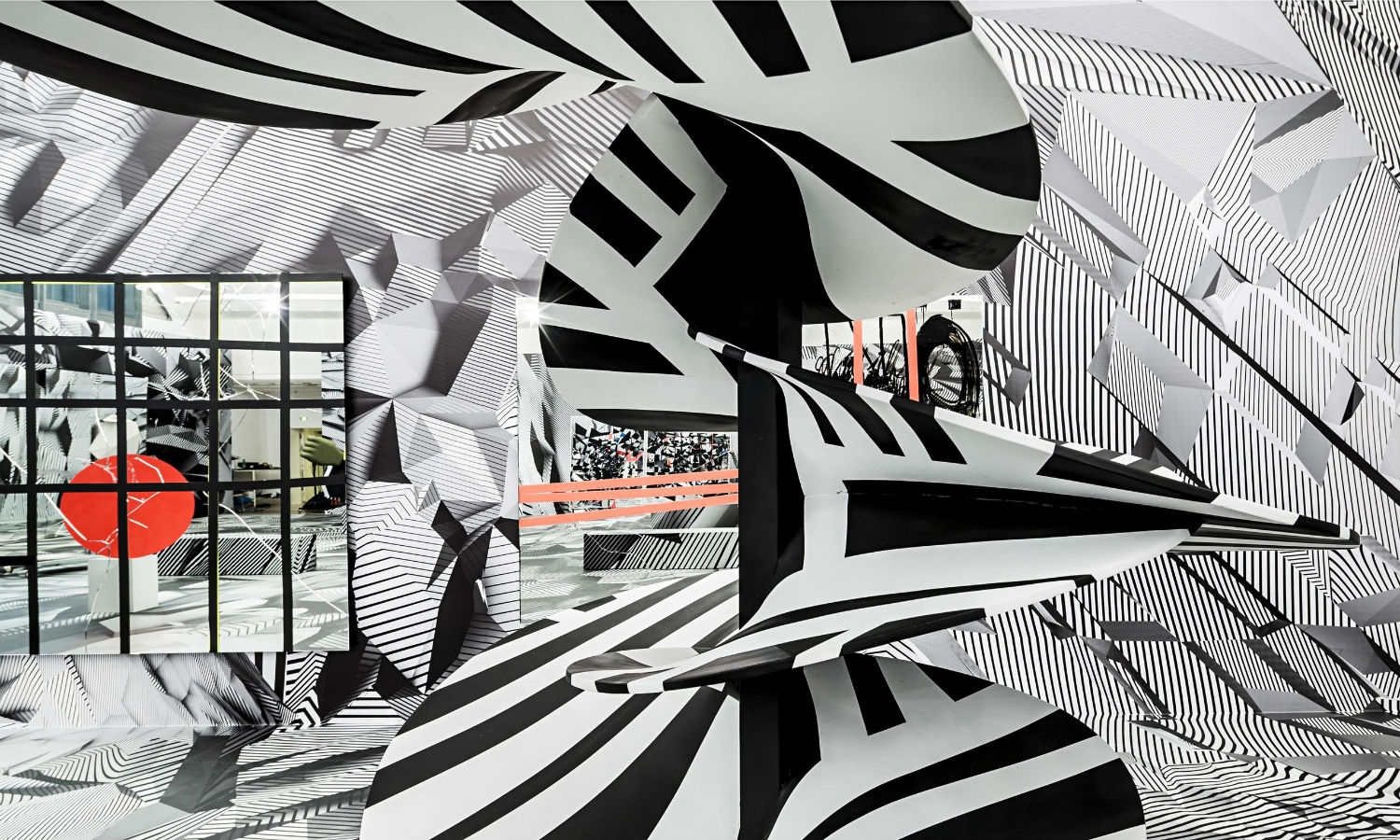 Tobias Rehberger op art black white glass installation