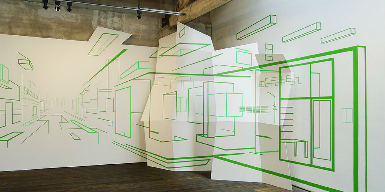 Damien Gilley optical art wall tape installation green
