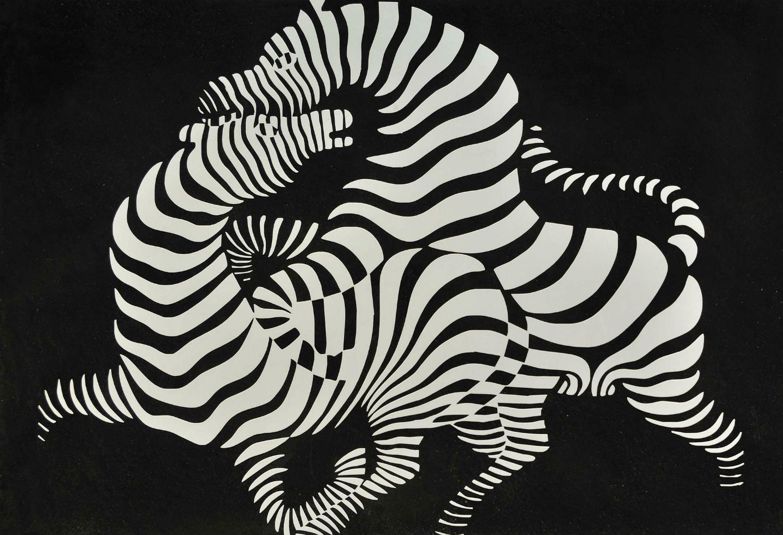 Victor vasarely op art zebra black white
