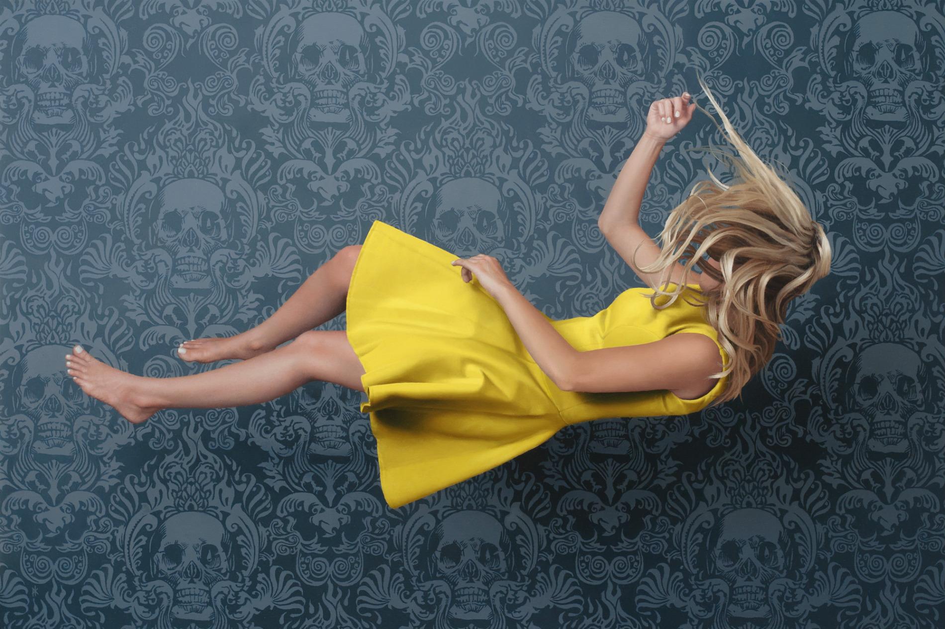 patrick kramer hyperrealist paintings yellow dress wallpaper