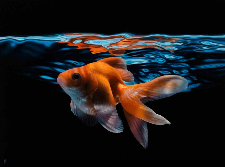 patrick kramer hyperrealist paintings goldfish water