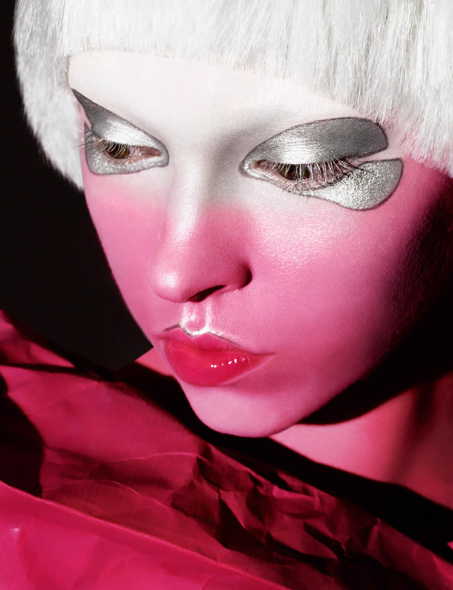 woman's face painted in pink, photo by rankin