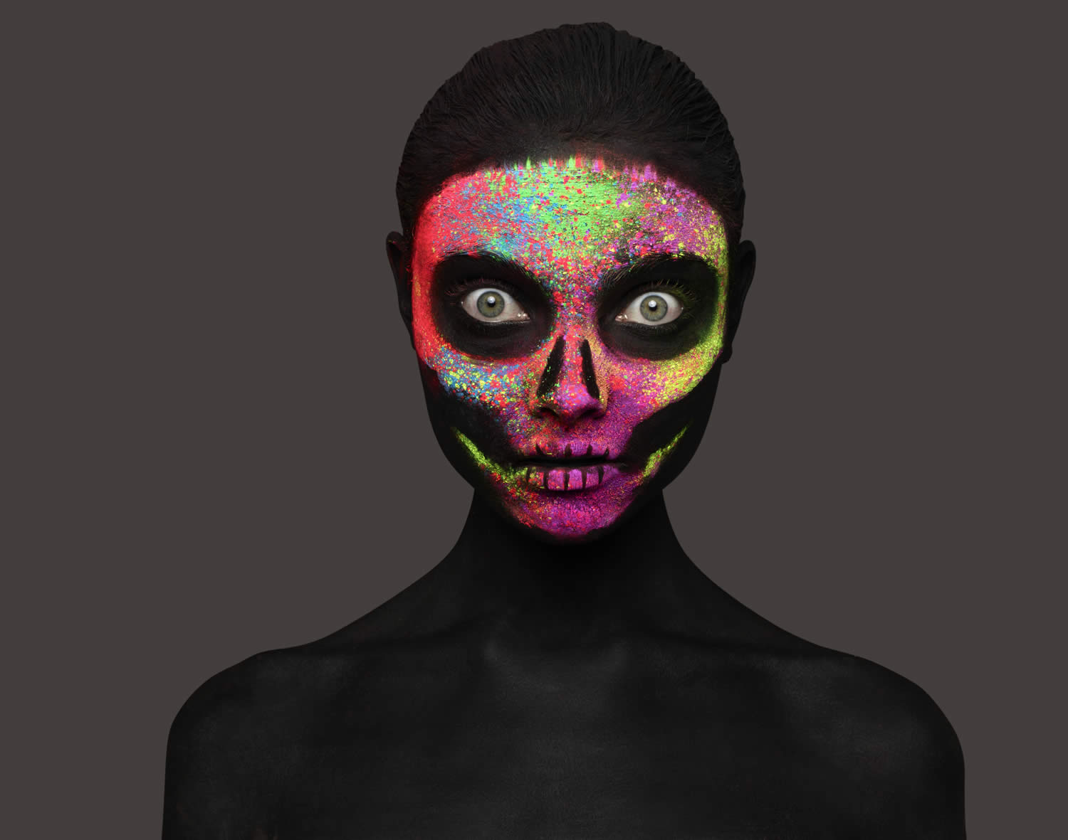 neon skull art, photo by rankin