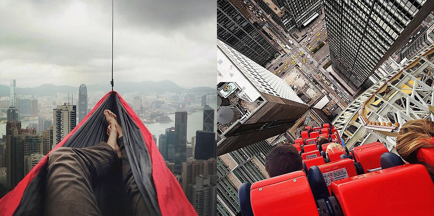 robert jahns surreal edited photo hammock over city, rollercoaster going down a skyscraper