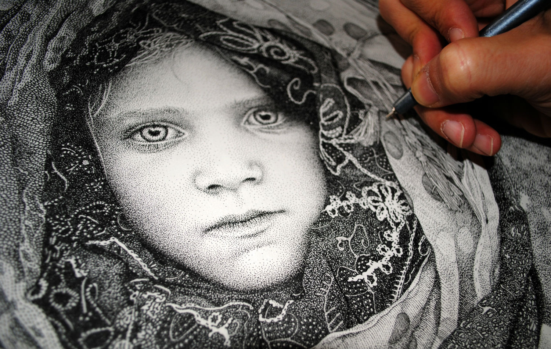pablo jurada ruiz stippling artists black white dot portrait