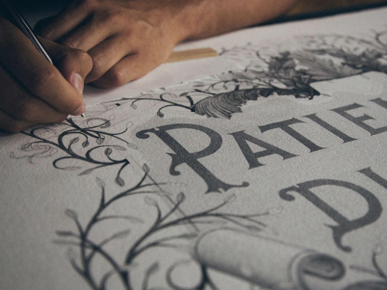 xavier castala typography black white stippling art