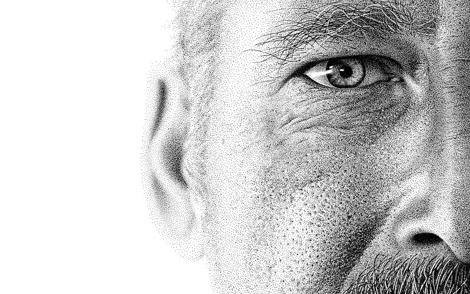 miguel endura close up black white stippling art