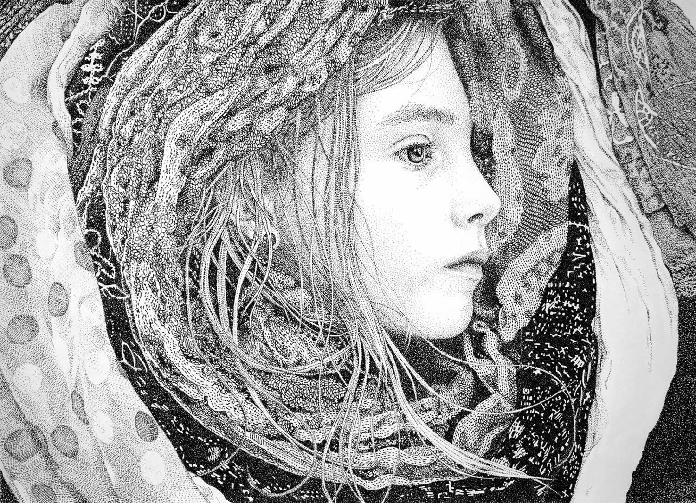 stippling art, portrait of girl, pablo jurada ruiz pointillism