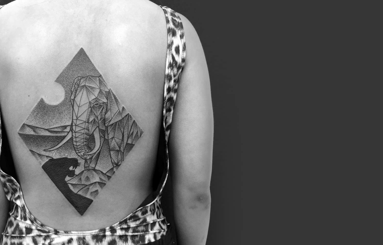 Jaya Suartika tattoo stippling art black white