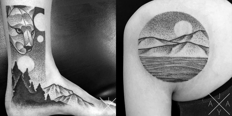 Jaya Suartika tattoo stippling art black white, foot and shoulder