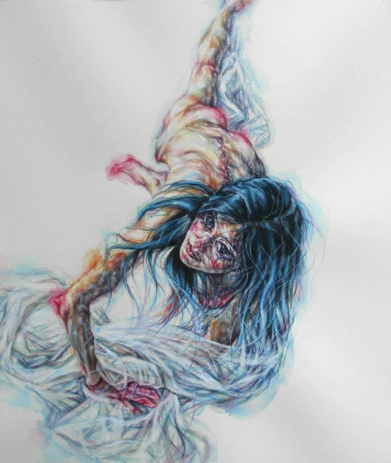 tammy salzl figurative watercolour illustration girl wrapped in sheets
