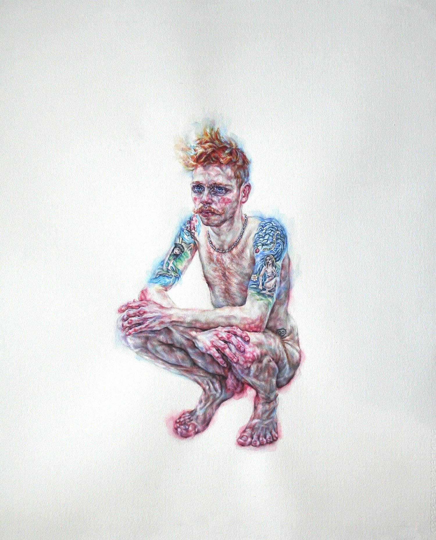 tammy salzl figurative watercolour illustration red haired man