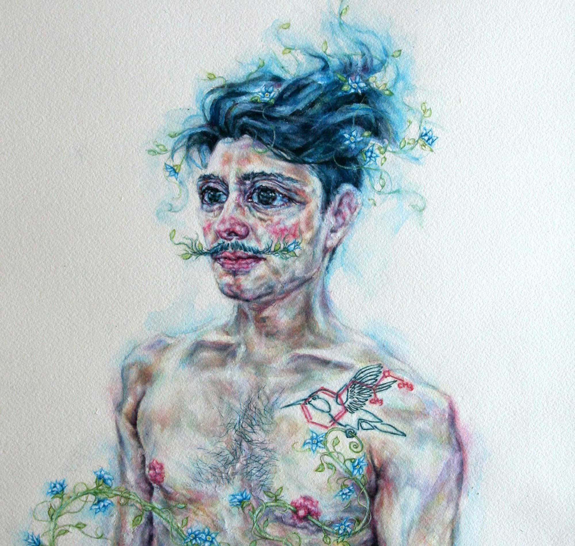 tammy salzl figurative watercolour illustration blue and black haired man