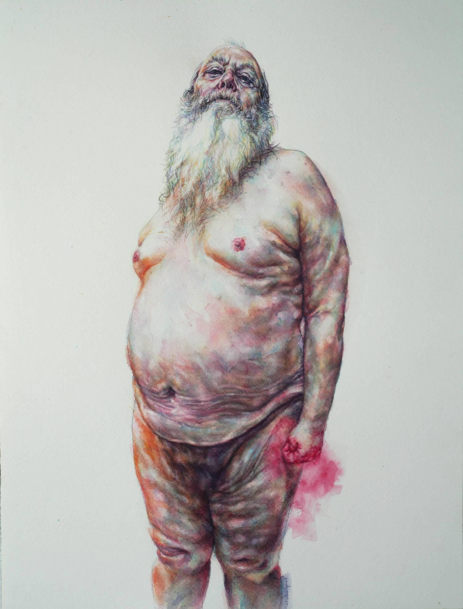 tammy salzl figurative watercolour illustration old man