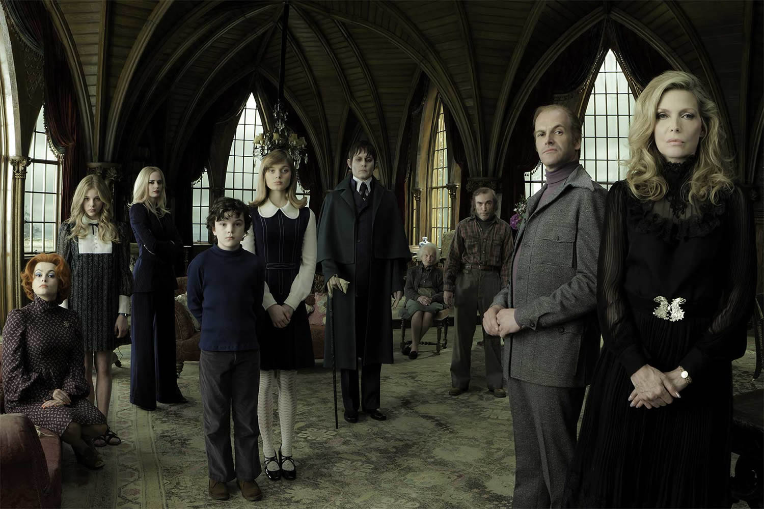 characters posing in gothic castle in dark shadows movie
