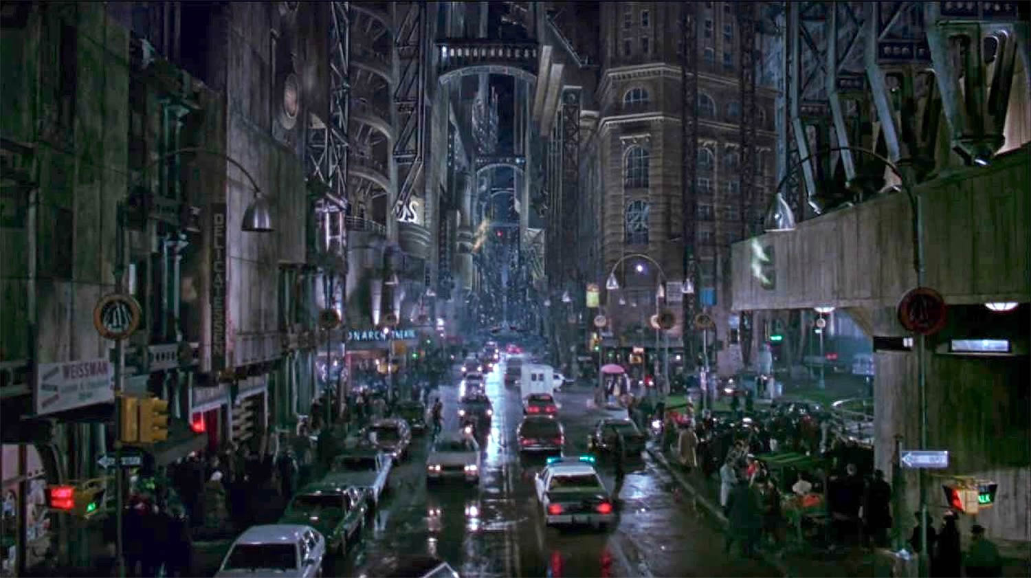 gotham city in batman returns. german expressionism influence, metropolisa