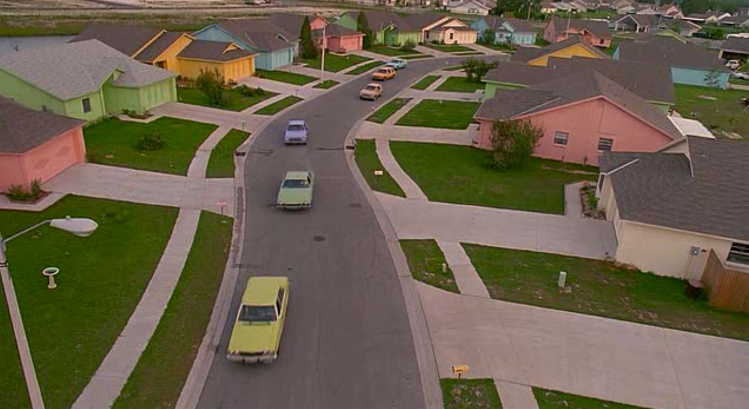 high-angle shot over houses in edward scissorhands