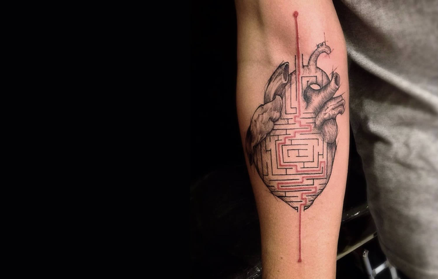 maze in heart, tattoo