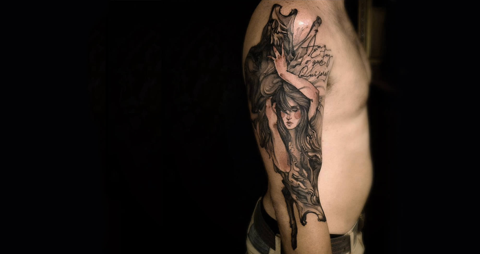 wolf and woman tattoo sleeve