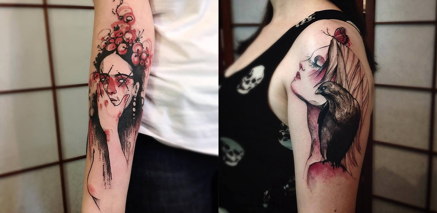 woman portraits, sketchbook style tattoo