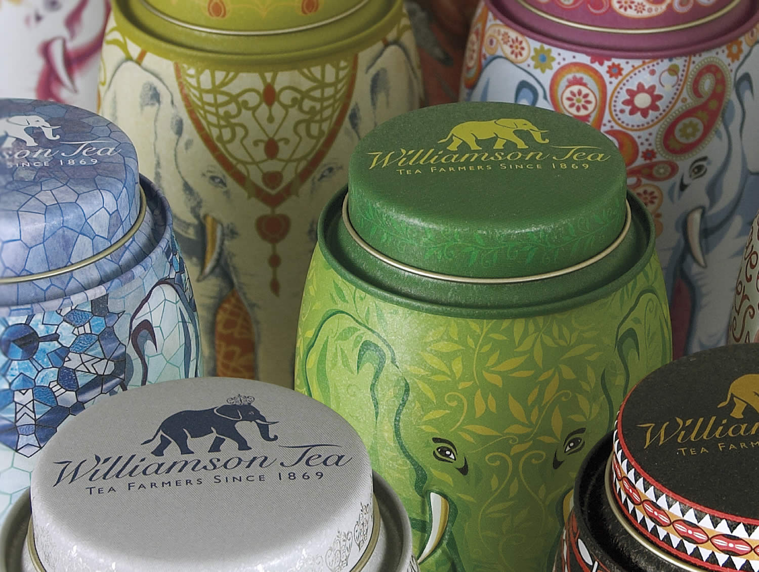 tin cans, tea, Williamson Tea Elephant Caddies Packaging by Springetts Brand Design Consultants