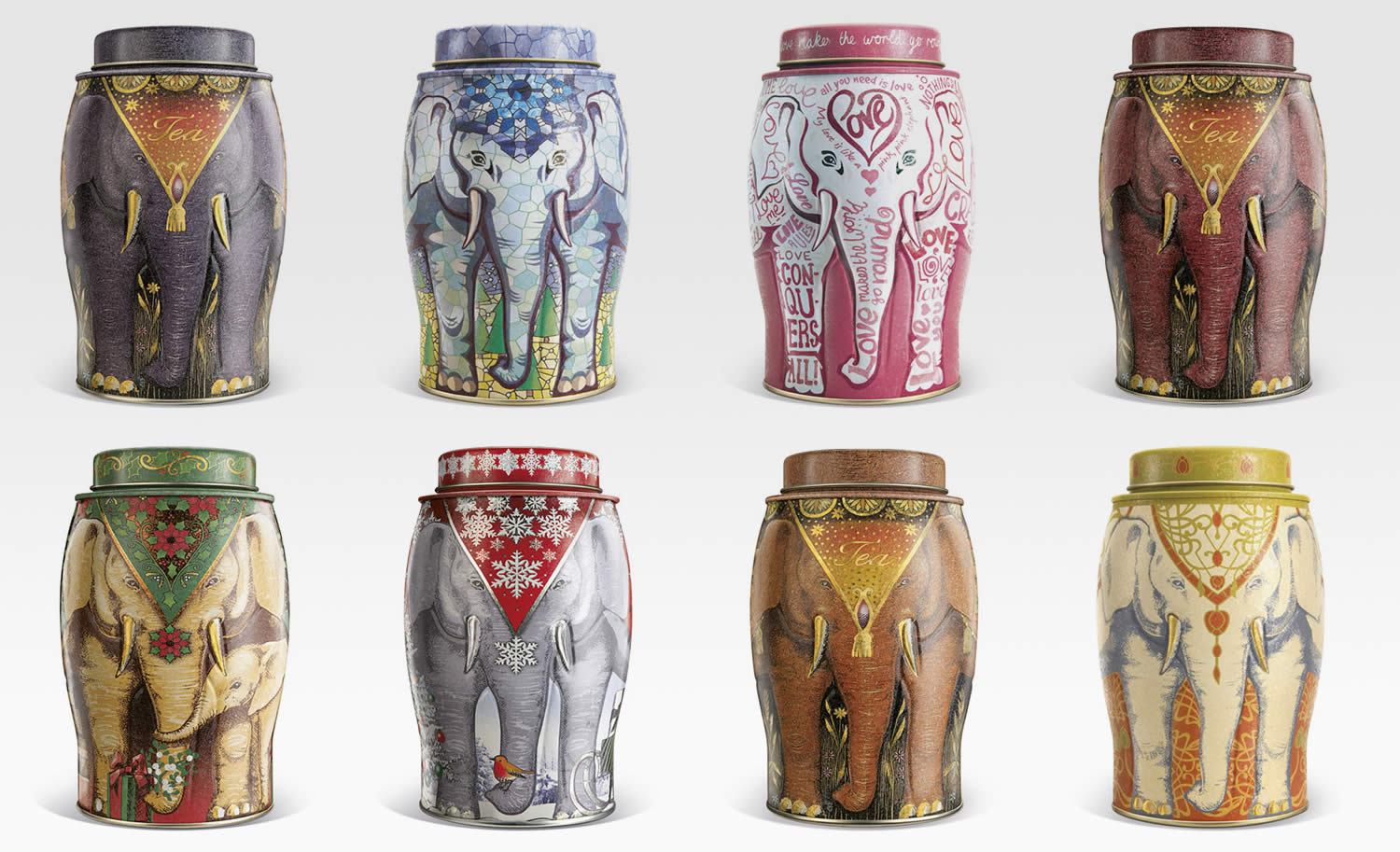 elephant on tea cans, Williamson Tea Elephant Caddies Packaging by Springetts Brand Design Consultants
