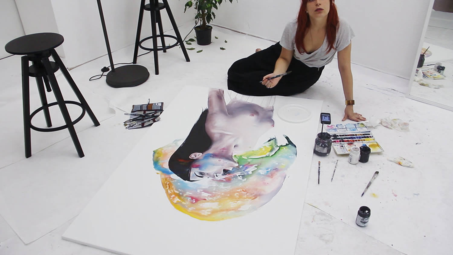 artists working on a painting, agnes cecile