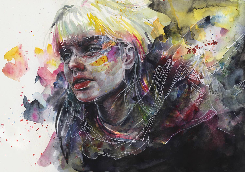 watercolor portrait by agnes cecile