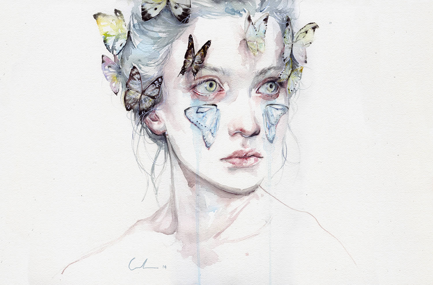 butterfly portrait girl byagnes cecile