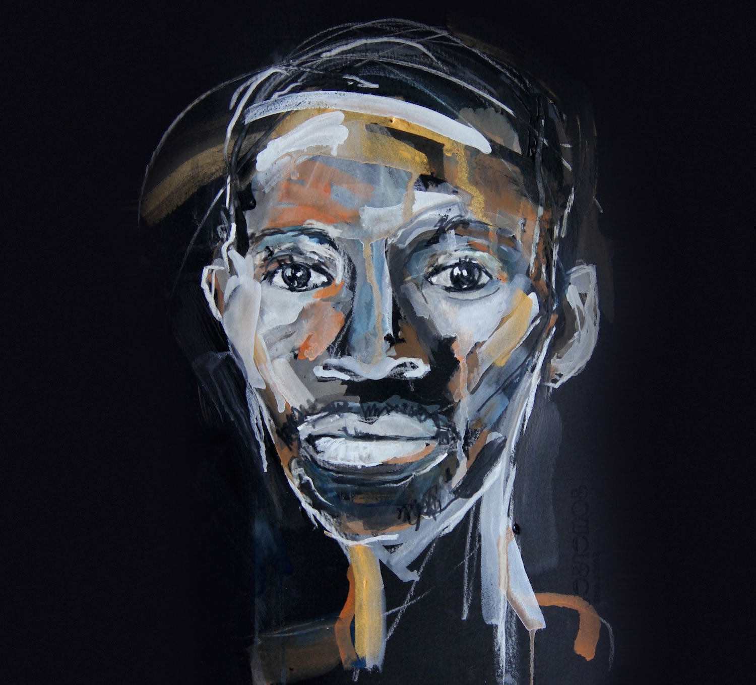 portrait of man, painting by Rachel Gadsden
