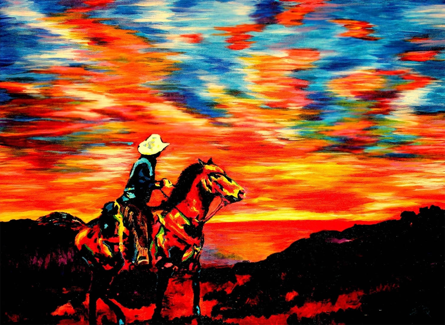 cowboy sunset colors, painting by John Bramblitt