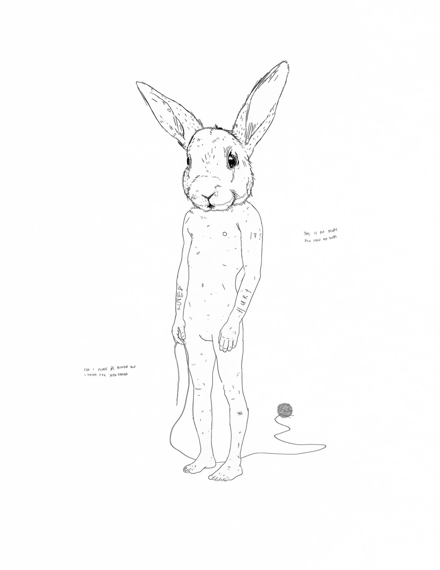 constantinos chaidalis illustration nude quirky bunny