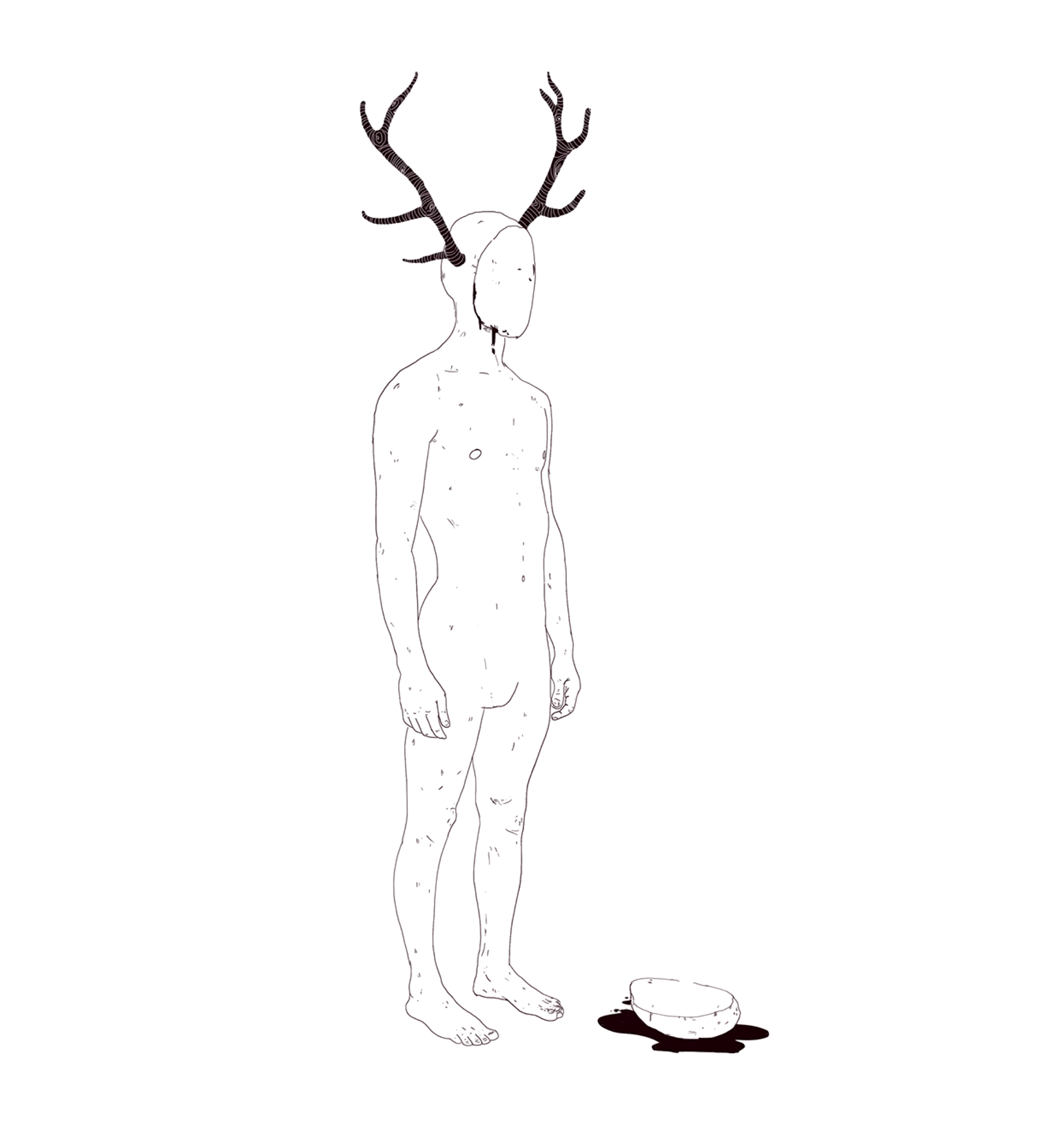 constantinos chaidalis illustration nude quirky antlers