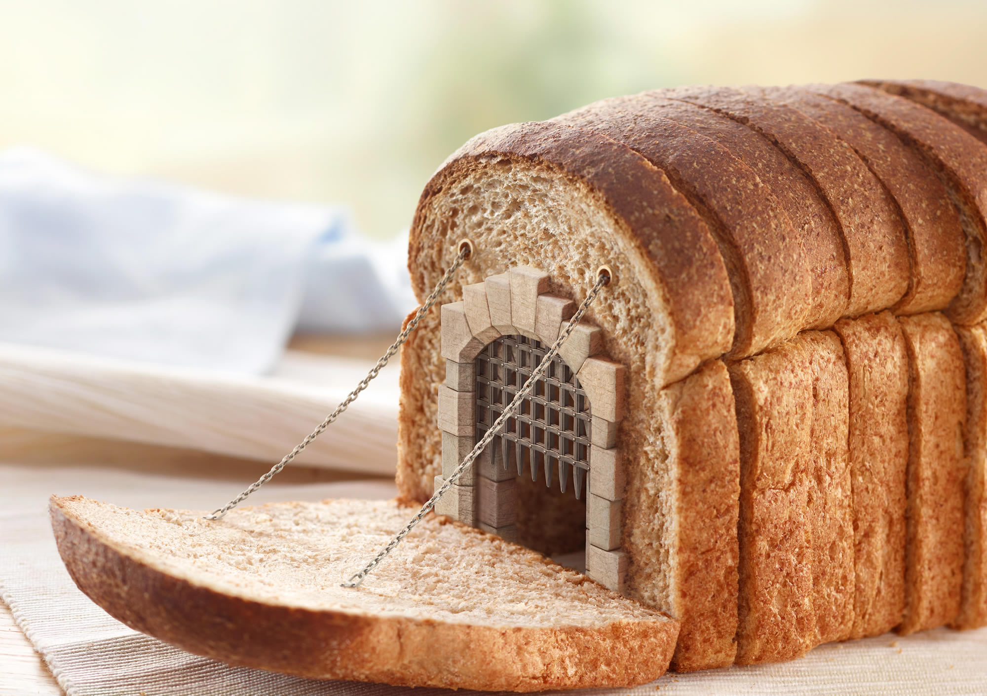 castle gate inside loaf of bread, dupont