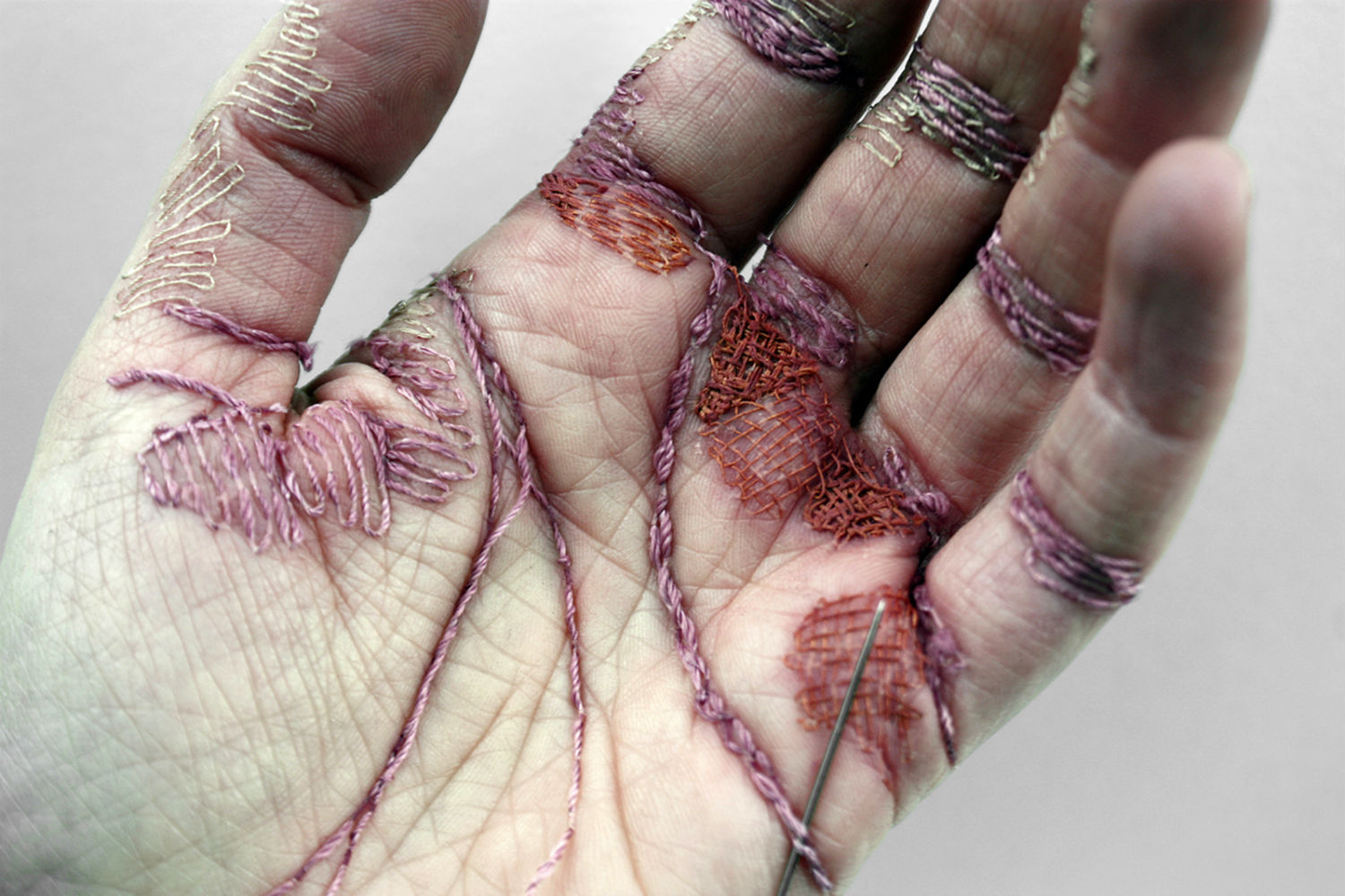 eliza bennett a woman's work is never done thread blood scars hand photography