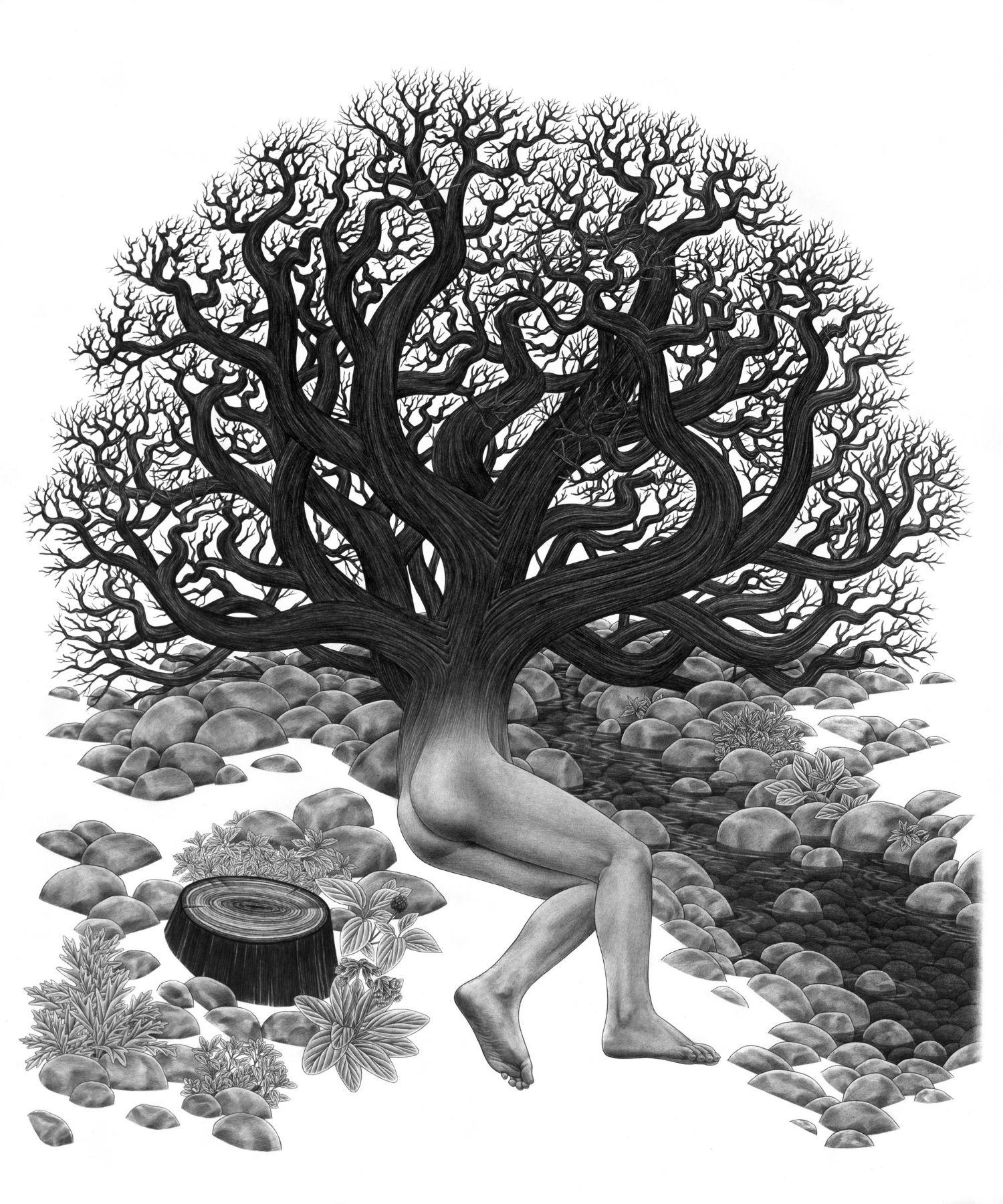 eric beltz drawing black white american mythology shade imagery tree man nude