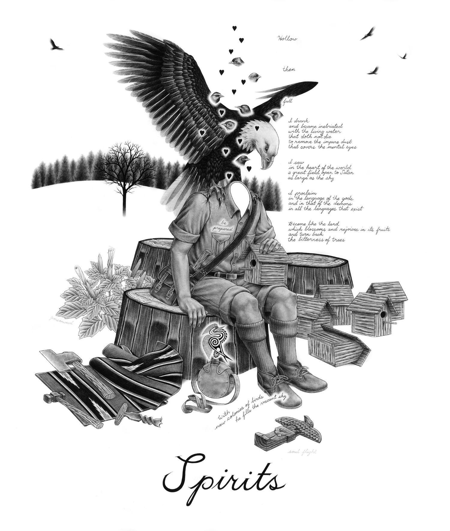 eric beltz drawing black white american mythology shade imagery eagle