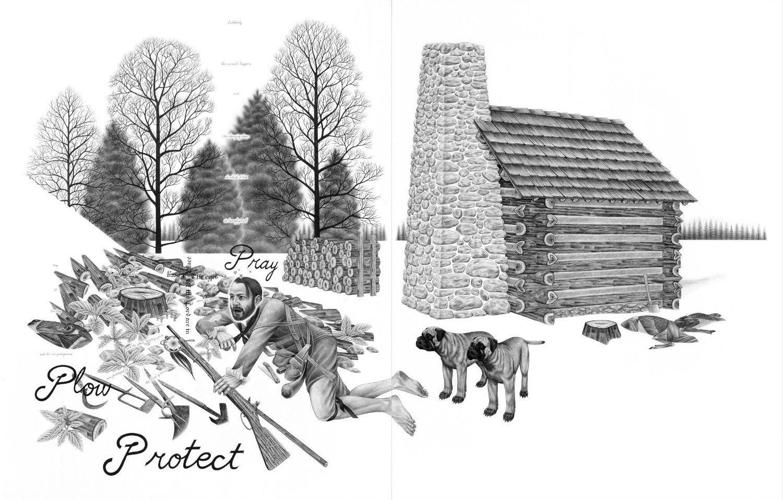 eric beltz drawing black white american mythology shade imagery