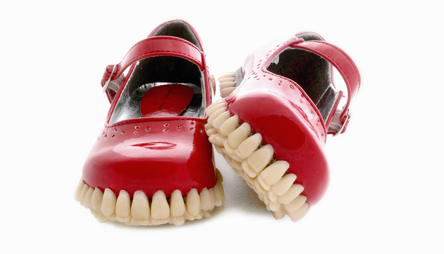 red shoes with teeth soles, FANTICH & YOUNG